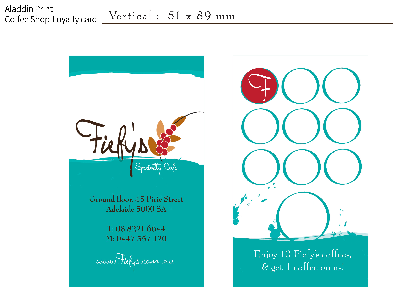 Coffee Shop Loyalty Card By Aladdin Print