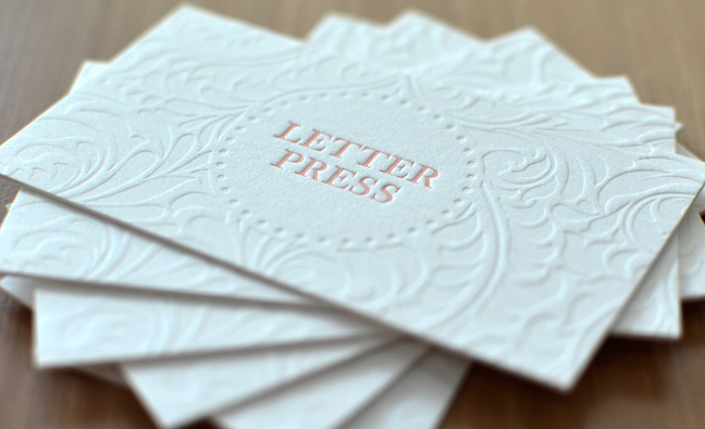 Business Cards With Letter Pressing Aladdin Print